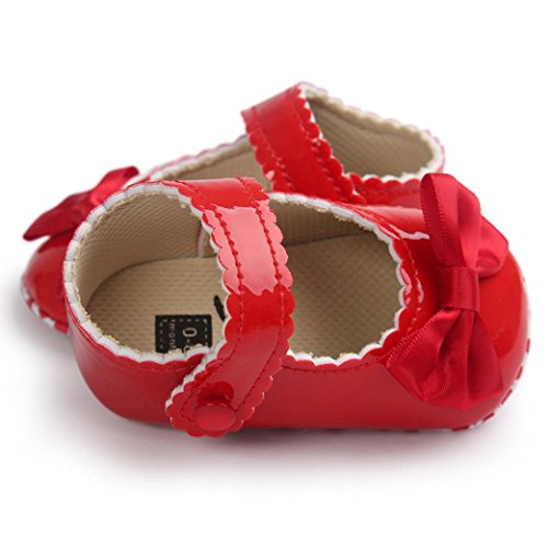 Sandalias Bebe,Tefamore La princesa del arco zapatos de bebé zapatos de los zapatos de bebé Rojo