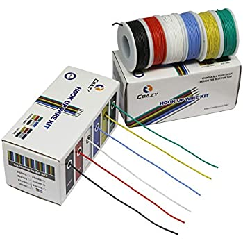 CBAZYTM Hook up Wire Kit (Stranded Wire Kit) 18 Gauge Flexible Silicone Rubber Electric Wire 6 Colors 16.4 feet Each 18 AWG