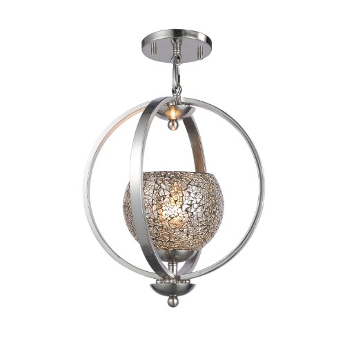 Woodbridge Lighting 13923STN-M00MIR Geo 1-Light Mid Pendant, Satin - Nickel Pendant Geo