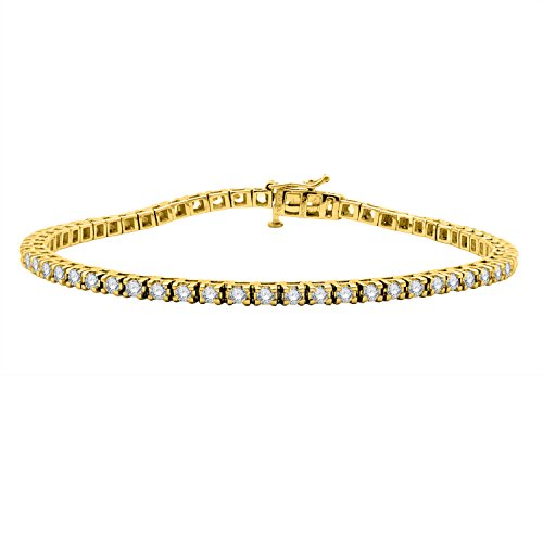 IGI Certified 18K Yellow Gold Prong Set Round Shape Diamond Tennis Bracelet (2.00 Carat) 18k White Gold Diamond Tennis Bracelet