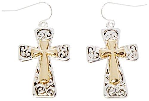 ne and Gold Tone Christian Cross Earrings - Kiki's Scrolled Crosses ()