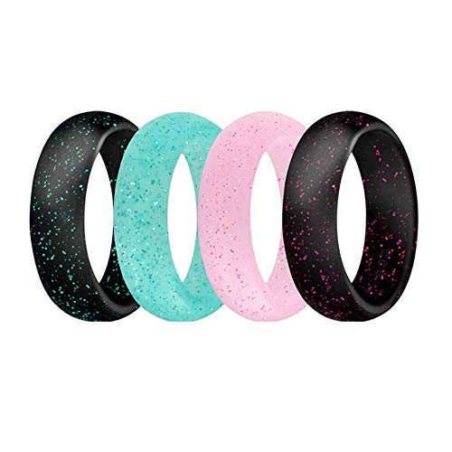 Wedding Music Ring - TULIP LY 4 Pack Silicone Wedding Rings for Women Men Comfortable Rubber Band Waterproof Rings for Sport Comfortable fit Skin Safe Glitters Black Blue Pink 5.7MM Width (7)
