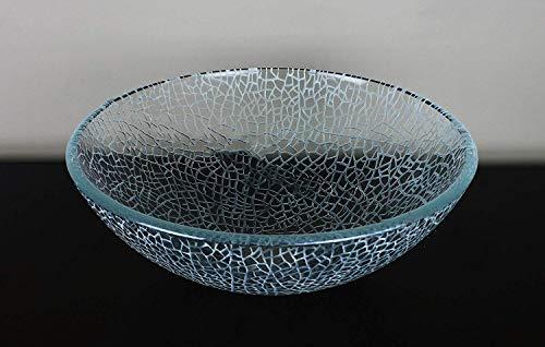 Bathroom Crackle Glass Vessel Sink + free chrome pop up drain/ring - Half Crackle Glass