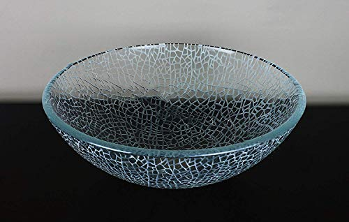 Bathroom Crackle Glass Vessel Sink free chrome pop up drain ring