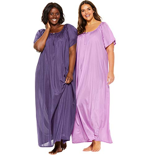 Necessities Set - Only Necessities Women's Plus Size 2-Pack Long Nightgown Set - Rich Violet Light Orchid, L