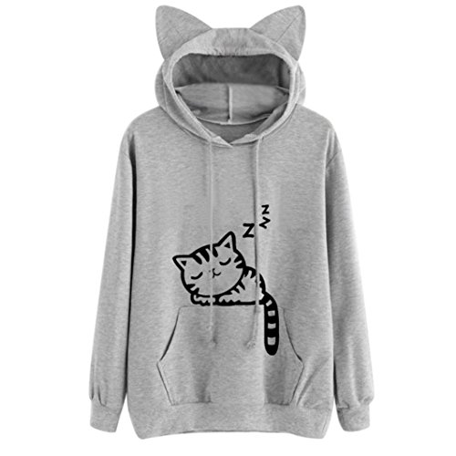 (YANG-YI HOT Fashion Womens Cat Long Sleeve Hoodie Printing Sweatshirt Hooded Pullover Tops Blouse (2XL, Gray))