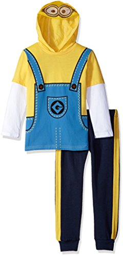 Universal Little Boys' Toddler 2 Piece Minion Costume Hoodie with Mesh Mask and Fleece Pant, Yellow, (Gru And Minions Costumes)