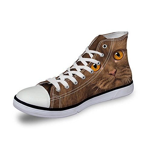 HUGS IDEA Animals Print Cute Womens Casual Canvas Shoes High Top Sneakers Cat Face 2 2XfzGR