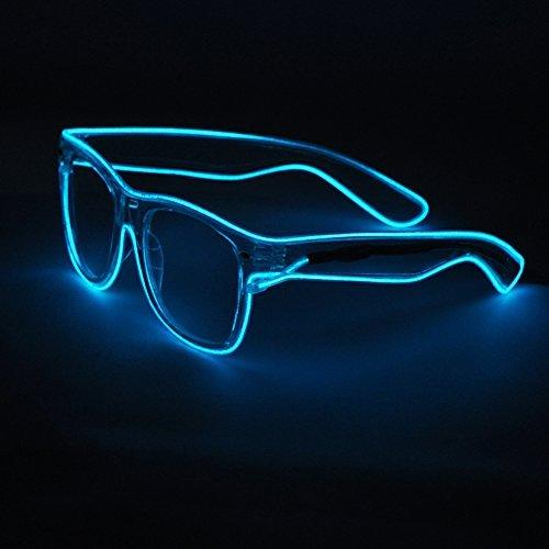 Sydnus EL Wire Rave Sunglasses LED Light Up Party Glasses(Ice Blue) ()