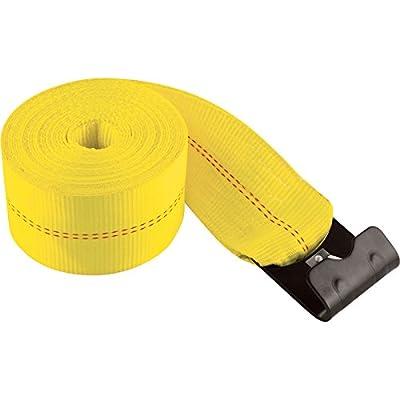 SmartStraps Winch Strap with Flat Hook -30ft.L x 4in.W, 15,000Lb. Capacity Break Strength, 5,000Lb. Working Load, Yellow, Model# 285