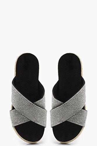 YourPrimeOutlet Womens Amy Diamante Cross Strap Flatform Sliders Silver S8U7FZ