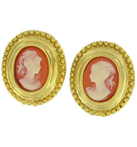 Cameo Antiqued Gold Tone Oval Button Pierced Earrings For Women Set