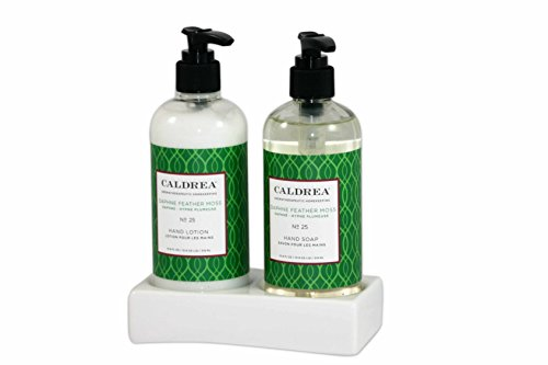 Caldrea Hand Soap and Lotion Sink Set in Ceramic Tray (Daphne Feather Moss)
