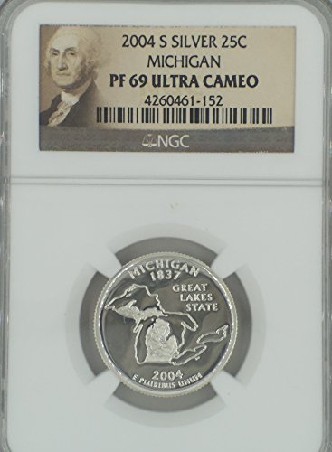 2004 S Silver 25C Ultra Cameo Michigan State Quarter PF-69 NGC