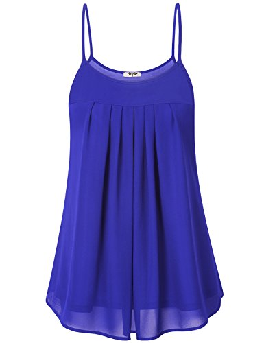 Hibelle Chiffon Tank Tops for Women, Woman Sleeveless Spaghetti Straps Pleat Lining Layered Camisole Summer Tunic Blouse A-Line Flared Scalloped Pregnancy Comfortable Cloth Blue XL ()