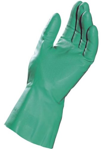 MAPA StanSolv AF-18 Nitrile Glove, Chemical Resistant, 0.018'' Thickness, 13'' Length, Size 10, Green (Bag of 12 Pairs)