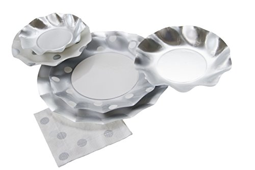 Sophistiplate Disposable Paper Plate Set Pois Silver (Silver Polka Dot) for 10 Guests 70 Pieces, for Holiday Parties, Birthdays, Anniversaries, BBQ, and All Special Occasions