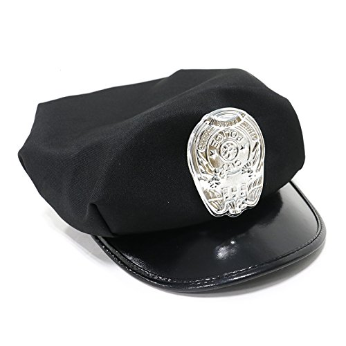 MAISHO Police Hat with Bright Gold Plastic Badge - (Gold Police Badge)
