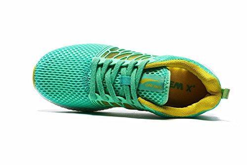 Onemix Respirant Maille Chaussures De Course, Baskets Légères Vert / Jaune