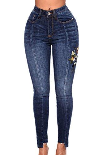 Si Jeans Vita Cucitura Blue Elasticizzati Skinny Pantaloni Alta Donne Le OBUwn7q7
