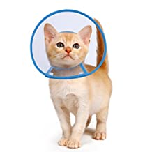 PETBABA Recovery Collar, Clear Cone Not Block Vision, Soft Padded Elizabethan E-collar Protect Neck, Suitable Puppy Dog Kitten Cat Pet in Surgery Remedy Grooming - S in Blue