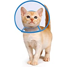 Recovery Collar Cone, PETBABA Clear Soft Padded Tiny Adjustable Comfortable Elizabethan E-collar for Surgery Remedy Grooming to Protect Puppy Dog Kitten Cat Pet Neck Not Block Vision - S in Blue