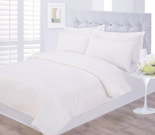 Hotel Luxury 100% Rich Egyptian Cotton Stripe Double Duvet Cover in White by Sweet Dreams