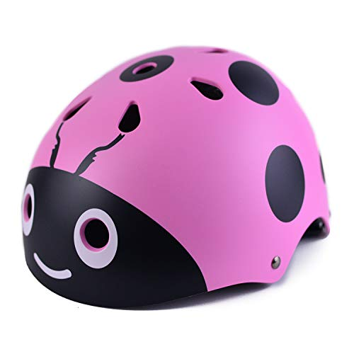 PHZ Kids Bike Skateboarding Helmet CPSC Certified Ladybug Adjustable and Safety for Multi-Sport Cycling Scooter(Pink)