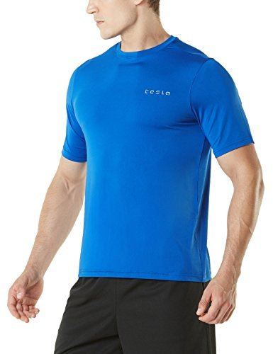 TM-MTS04-BLU_Medium Tesla Men's HyperDri Short Sleeve T-Shirt Athletic Cool Running Top (Gear Short Sleeve Shirt)