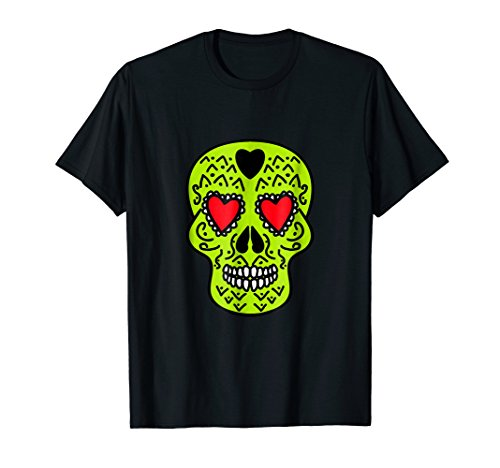 (Lime Green Skull Print T-shirt Tattoo Candy Neon Funny Tee)