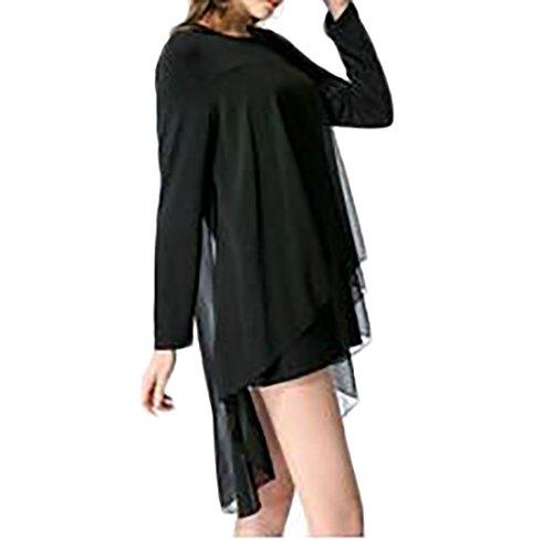 C & H Col Rond Épissé Haut-bas Robe De Soirée À Manches Longues Flowy Noir Des Femmes