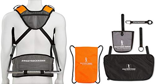 Piggyback Rider Scout Model - Child Toddler Carrier Backpack for Hiking Trails, Camping, Fitness Travel (6 Piece Accessory Bundle (Orange)