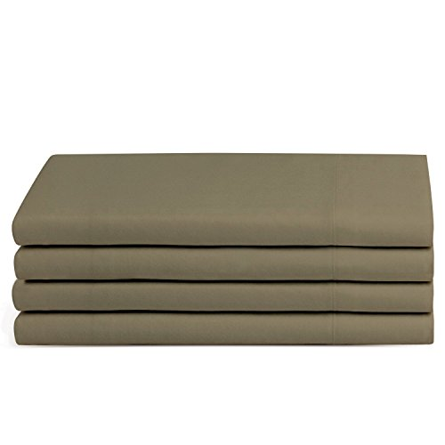 Beckham Hotel Collection Luxury Pillow Case (4 Pack) - Soft-Brushed Microfiber, Hypoallergenic, and Wrinkle Resistant - Standard/Queen - Taupe ()