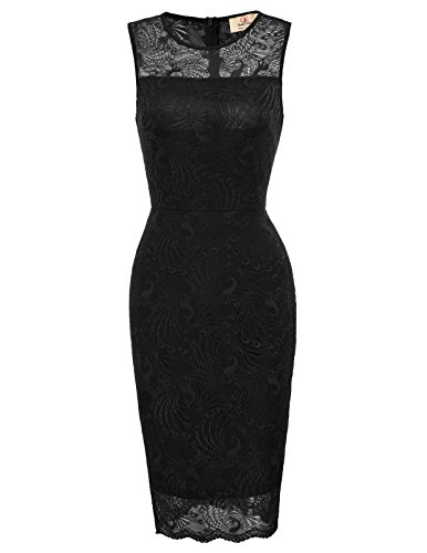 Women's Sleeveless Cocktail Lace Party Bodycon Dress M Black ()