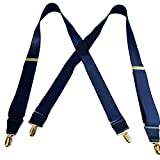 Holdup Suspender USA made Dark Steel Blue Satin Finish X-back Suspenders with Patented No-slip Gold-Tone Clips