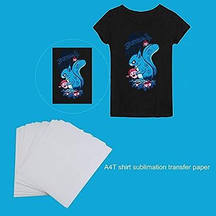 HoganeyVan 100 PCS A4 Papel de impresión por sublimación para poliéster Algodón Camiseta Hierro sobre papel de transferencia Accesorios de transferencia de impresión térmica: Amazon.es: Oficina y papelería