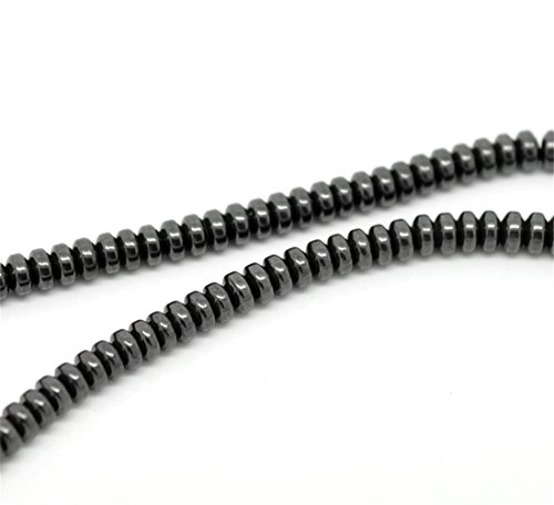 2 Strands Black Hematite Flat Round Loose Beads for DIY Jewelry Making Findings 4mmx2mm
