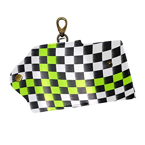 Anmarco Checkered Flag PU Leather Car Key Chain Card Holder with 6 Hooks & 1 Keychain/Ring]()
