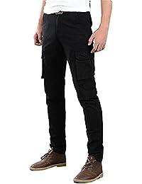 Men's Slim Fit Straight Leg Elastic Sports Casual Multi-Pockets Cargo Pants