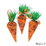 Carrot Shaped Cellophane Easter Party Bags 12 ct.