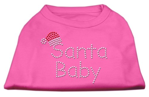 Mirage Pet Products Santa Baby Rhinestone Dog Shirt Bright Pink Small - 10