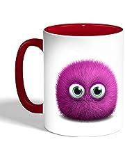كوب سيراميك للقهوة، لون احمر، بتصميم وحش ملون