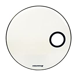 Aquarian Drumheads SMPTCC18BWH Offset Ported Bass 18-inch Bass Drum Head, goss white