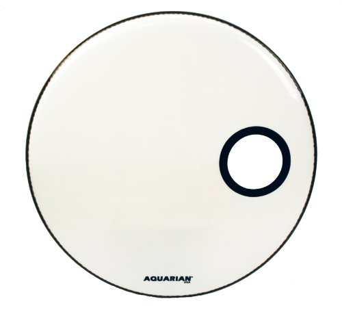 Aquarian Drumheads SMPTCC22WH Offset Ported Bass 22-inch Bass Drum Head, goss white