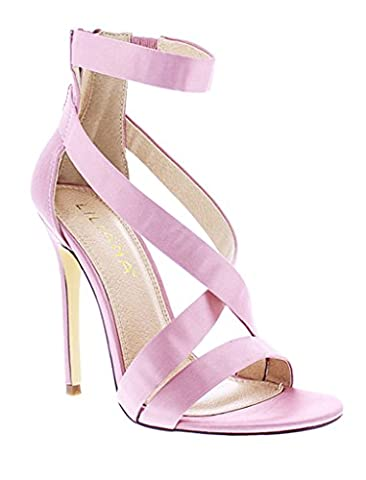 Liliana Criss Cross Satin Strappy Stiletto Heels Tisha-31(Pink 8.5) - Cross Strap Bow