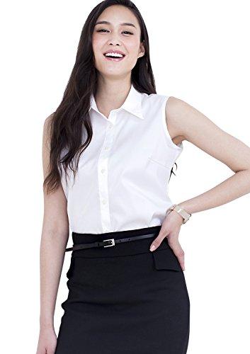 Leonis Women's Super Stretch Easy Care Poplin Sleeveless Shirt White (S [4]) [ 32413 - Button Sleeveless Jersey Down
