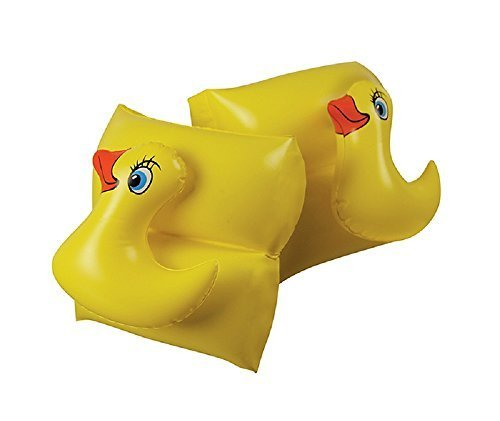 Yellow Animal Head Duck Swimming Pool Inflatable Learn-To-Swim Arm Floaties - Children Ages 3-12 by Swim Central