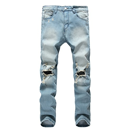 (WEEN CHARM Men's Jeans Slim Fit Ripped Denim Pants Skinny Destroyed Biker Jeans)