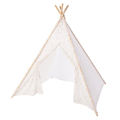(Ling's moment Romantic White Sheer Feather Kids Teepee Tent for Kids Indian Teepee Tent Kids Play Tent Kids-Parent Playhouse Canopy Tent Sleeping Dome Adults Available Holiday Season Decoration)