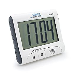 Kings & Queens New Version! Large Display Electronic Digital Countdown and Count up Loud Alarm Kitchen Timer / Sport Stopwatches with Clock Function (Magnet and Stand) AC006-1G